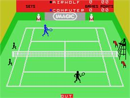 In game image of Tournament Tennis on the Coleco Vision.
