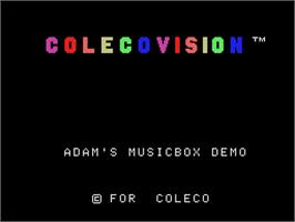 Title screen of Adam's Musicbox (Demo) on the Coleco Vision.