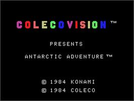 Title screen of Antarctic Adventure on the Coleco Vision.