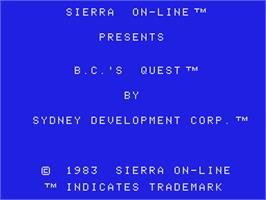Title screen of BC's Quest for Tires on the Coleco Vision.