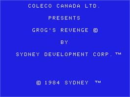 Title screen of BC's Quest for Tires 2: Grog's Revenge on the Coleco Vision.