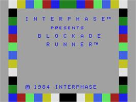 Title screen of Blockade Runner on the Coleco Vision.
