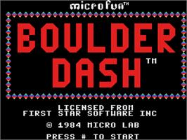 Title screen of Boulder Dash on the Coleco Vision.