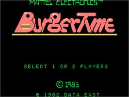 Title screen of Burger Time on the Coleco Vision.