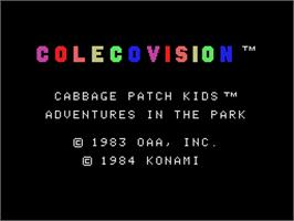 Title screen of Cabbage Patch Kids Adventures in the Park on the Coleco Vision.