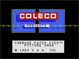 Title screen of Cabbage Patch Kids Picture Show on the Coleco Vision.
