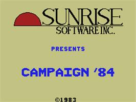 Title screen of Campaign '84 on the Coleco Vision.
