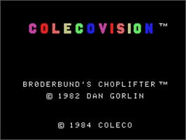 Title screen of Choplifter on the Coleco Vision.