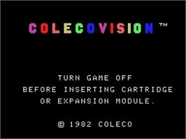 Title screen of ColecoVision Monitor Test on the Coleco Vision.