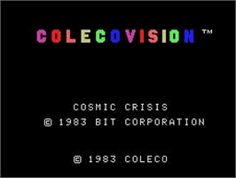 Title screen of Cosmic Crisis on the Coleco Vision.