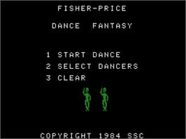 Title screen of Dance Fantasy on the Coleco Vision.