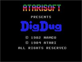 Title screen of Dig Dug on the Coleco Vision.