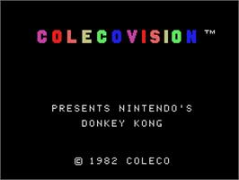 Title screen of Donkey Kong on the Coleco Vision.