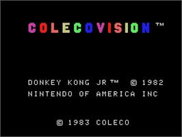 Title screen of Donkey Kong Junior on the Coleco Vision.