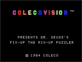Title screen of Dr. Seuss's Fix-Up the Mix-Up Puzzler on the Coleco Vision.