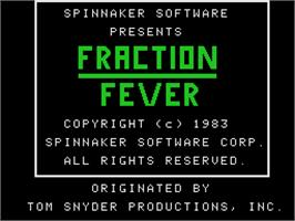 Title screen of Fraction Fever on the Coleco Vision.