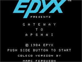 Title screen of Gateway to Apshai on the Coleco Vision.