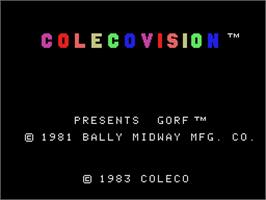 Title screen of Gorf on the Coleco Vision.