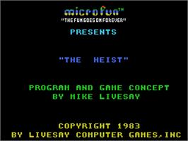 Title screen of Heist on the Coleco Vision.