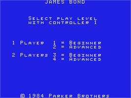 Title screen of James Bond 007 on the Coleco Vision.