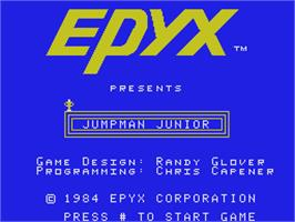 Title screen of Jumpman Junior on the Coleco Vision.