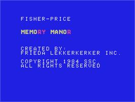 Title screen of Memory Manor on the Coleco Vision.