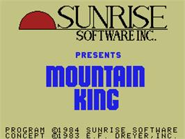 Title screen of Mountain King on the Coleco Vision.