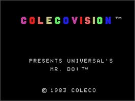 Title screen of Mr. Do! on the Coleco Vision.