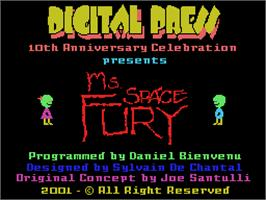 Title screen of Ms. Space Fury on the Coleco Vision.