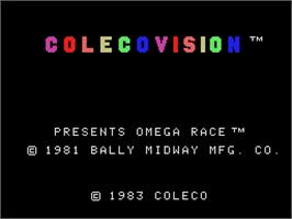 Title screen of Omega Race on the Coleco Vision.
