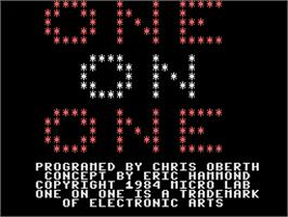 Title screen of One on One on the Coleco Vision.