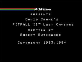 Title screen of Pitfall II on the Coleco Vision.