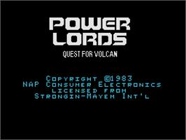 Title screen of Power Lords: Quest for Volcan on the Coleco Vision.