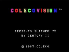 Title screen of Slither on the Coleco Vision.