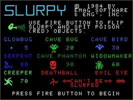 Title screen of Slurpy on the Coleco Vision.