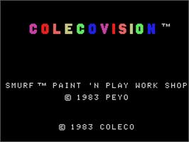 Title screen of Smurf: Paint 'n' Play Workshop on the Coleco Vision.