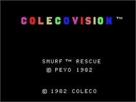 Title screen of Smurf: Rescue in Gargamel's Castle on the Coleco Vision.