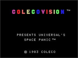 Title screen of Space Panic on the Coleco Vision.