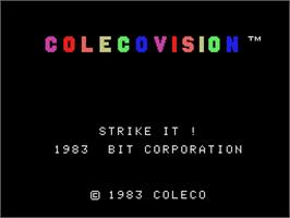 Title screen of Strike It on the Coleco Vision.