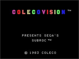 Title screen of Subroc on the Coleco Vision.