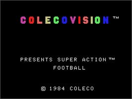 Title screen of Super Action Football on the Coleco Vision.
