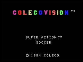 Title screen of Super Action Soccer on the Coleco Vision.