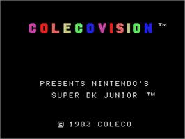 Title screen of Super DK! Junior on the Coleco Vision.