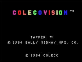Title screen of Tapper on the Coleco Vision.