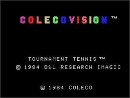 Title screen of Tournament Tennis on the Coleco Vision.