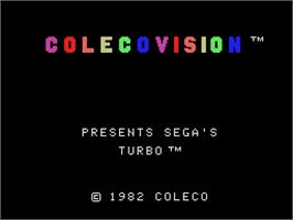 Title screen of Turbo on the Coleco Vision.