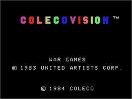 Title screen of War Games on the Coleco Vision.