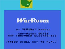 Title screen of War Room on the Coleco Vision.