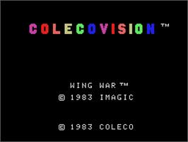 Title screen of Wing War on the Coleco Vision.