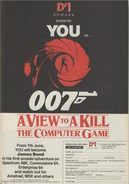 Advert for A View to a Kill on the Commodore 64.